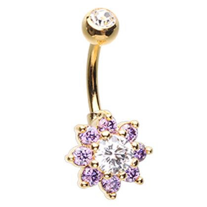 Fixed (non-dangle) Belly Bar. Quality Belly Rings. Velvet Beauteous Daisy Belly Ring
