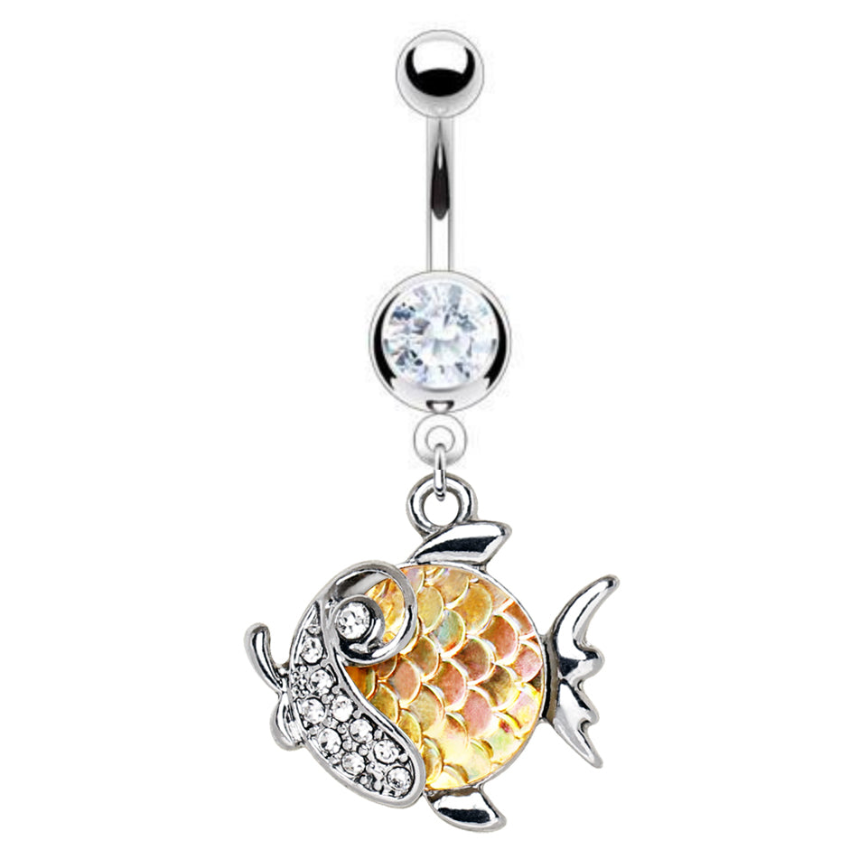 Kingyo Goldfish Belly Dangle - Dangling Belly Ring. Navel Rings Australia.
