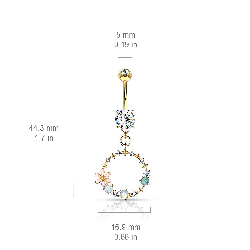 Dangling Belly Ring. Quality Belly Rings. Hoola Matrix Belly Dangle in Gold