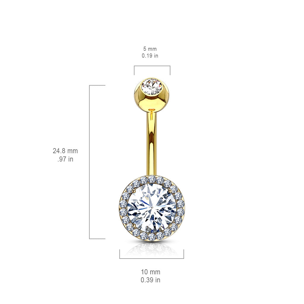 Basic Curved Barbell. Belly Bars Australia. Jojo Halo Belly Bar in Gold