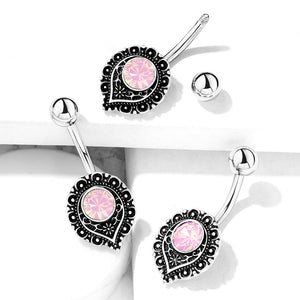 Mimi Pink Tribal Belly Bar - Fixed (non-dangle) Belly Bar. Navel Rings Australia.