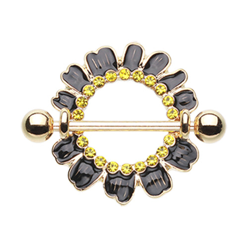 Byron Daisies Nipple Shield Ring in Black - Nipple Ring. Navel Rings Australia.