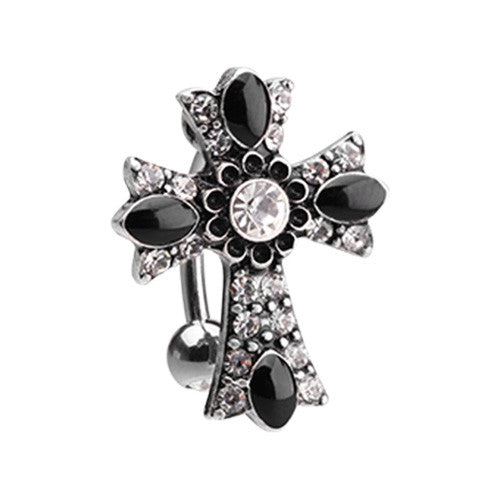 Byzantine Goth Daisy Cross Belly Ring - Reverse Top Down Belly Ring. Navel Rings Australia.