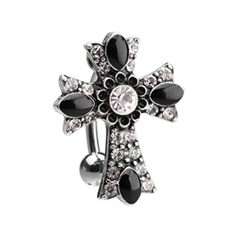 Reverse Top Down Belly Ring. Quality Belly Bars. Byzantine Goth Daisy Cross Belly Ring