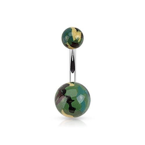 Basic Curved Barbell. High End Belly Rings. Go Camo Acrylic Belly Bars