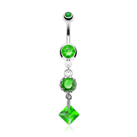 Zarina Drop Belly Button Ring - Dangling Belly Ring. Navel Rings Australia.