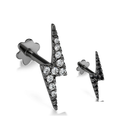 Authentic Lightning Bolt Diamond Earring by Maria Tash in 14K Black Gold. Flat Stud.