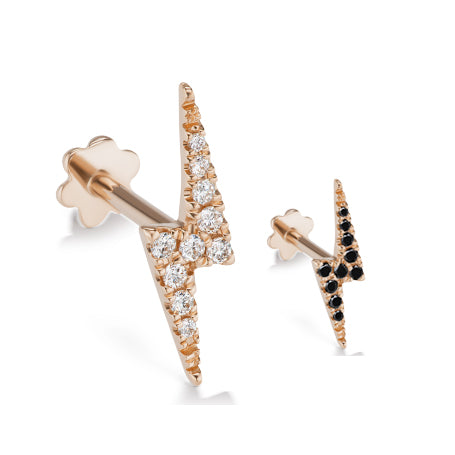 Authentic Lightning Bolt Diamond Earring by Maria Tash in 14K Rose Gold. Flat Stud. - Earring. Navel Rings Australia.