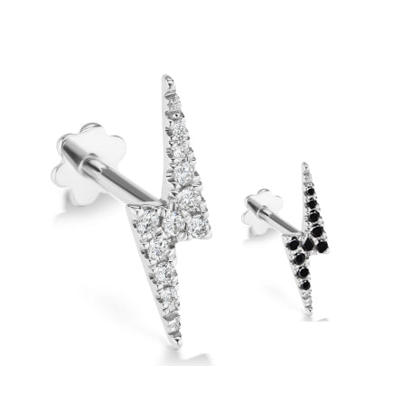Authentic Lightning Bolt Diamond Earring by Maria Tash in 14K White Gold. Flat Stud.