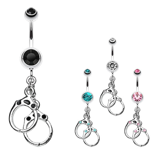Naughty Girls Hand Cuffs Navel Ring - Dangling Belly Ring. Navel Rings Australia.