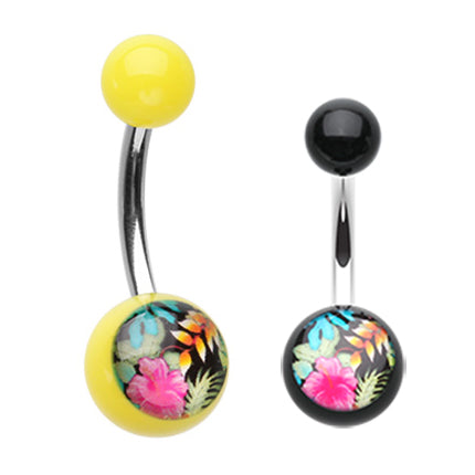 Basic Curved Barbell. Buy Belly Rings. Hawaiian Luau Acrylic Belly Bar
