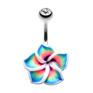 Hawaiian Aloha Frangipani Belly Ring - Fixed (non-dangle) Belly Bar. Navel Rings Australia.