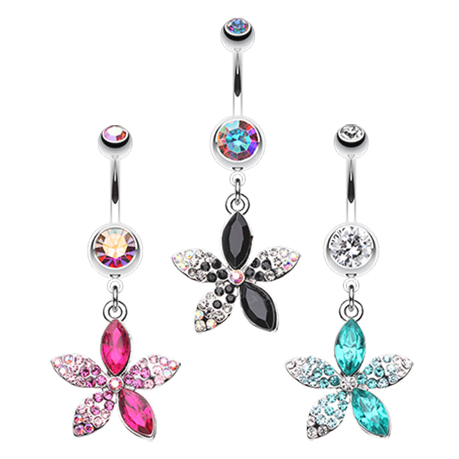 Leilani Hawaiian Blossom Belly Bar - Dangling Belly Ring. Navel Rings Australia.
