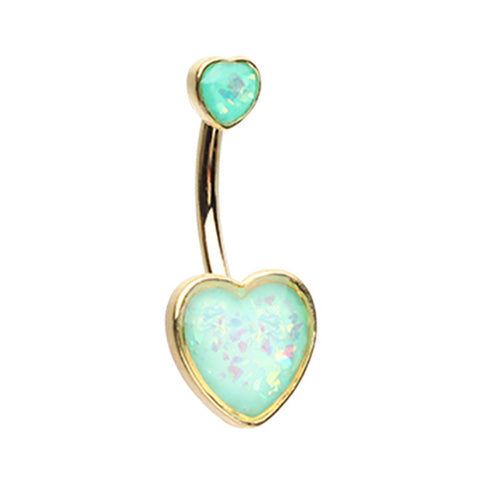 Fixed (non-dangle) Belly Bar. Quality Belly Bars. Frontal Opal Heart Belly Ring in Gold