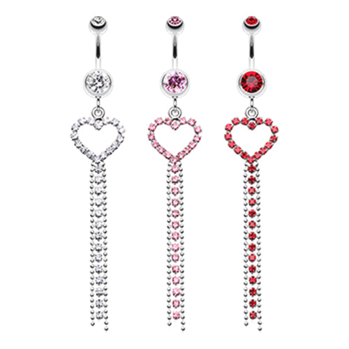 Heart Drape Belly Piercing - Dangling Belly Ring. Navel Rings Australia.