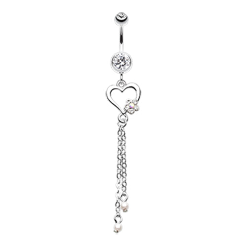 Jardin Heart Belly Piercing Dangle - Dangling Belly Ring. Navel Rings Australia.