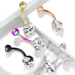 Ice Heart Solitaire Belly Bar in Gold - Fixed (non-dangle) Belly Bar. Navel Rings Australia.