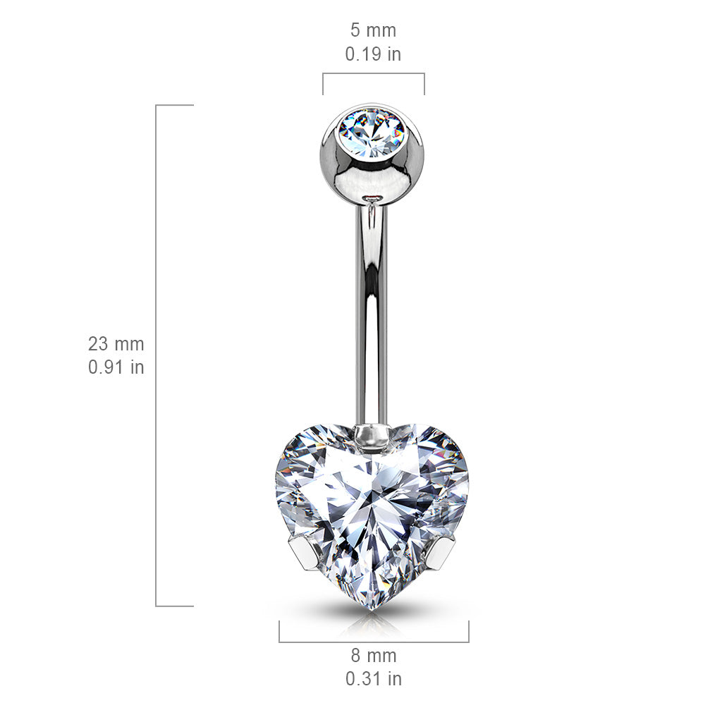 Fixed (non-dangle) Belly Bar. Quality Belly Rings. Ice Heart Solitaire Belly Bar in Rose Gold