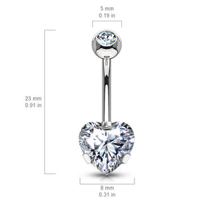 Ice Heart Solitaire Belly Bar in Rose Gold - Fixed (non-dangle) Belly Bar. Navel Rings Australia.