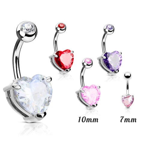 Heart Solitaire Belly Rings. Petite and Mega Heart Gems.