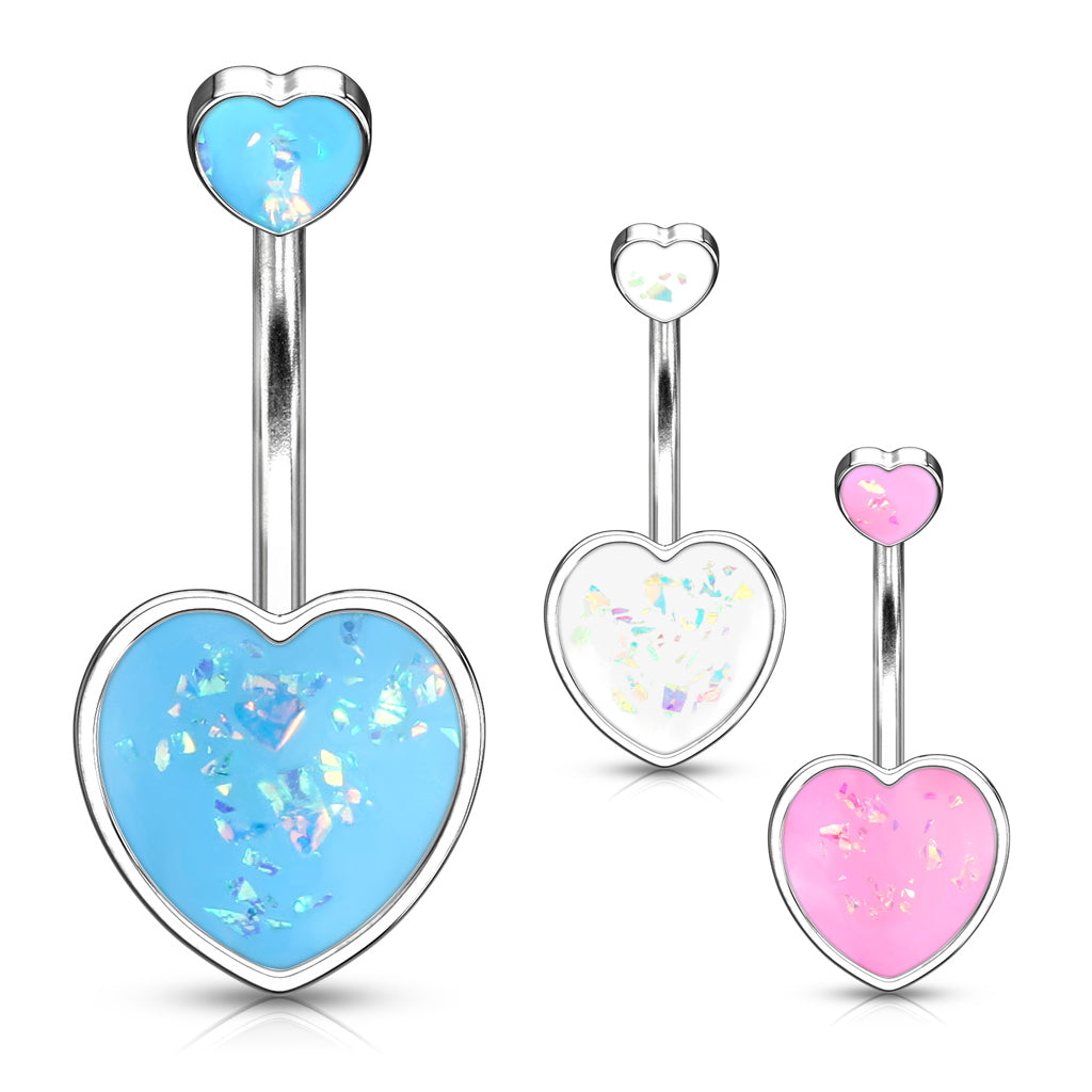 Maja Heart Opal Belly Bar - Fixed (non-dangle) Belly Bar. Navel Rings Australia.