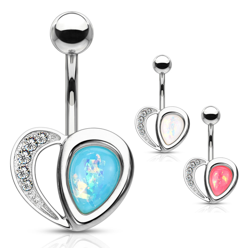 Aphrodite's Opal Heart Belly Bar - Fixed (non-dangle) Belly Bar. Navel Rings Australia.