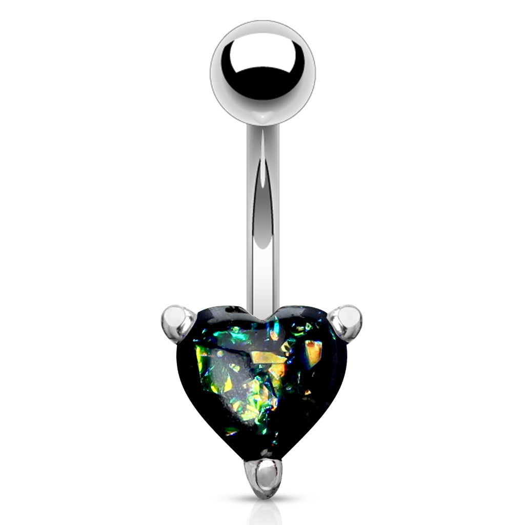 Fixed (non-dangle) Belly Bar. Navel Rings Australia. Solitaire Romeo Opal Belly Rings