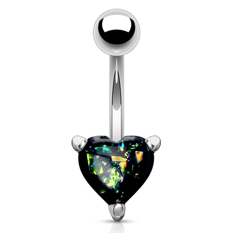 Black Solitaire Romeo Opal Belly Rings