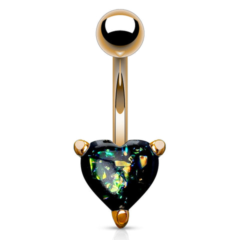 Black Solitaire Romeo Opal Belly Rings in Rose Gold