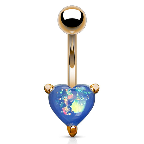 Indigo Blue Solitaire Romeo Opal Belly Rings in Rose Gold