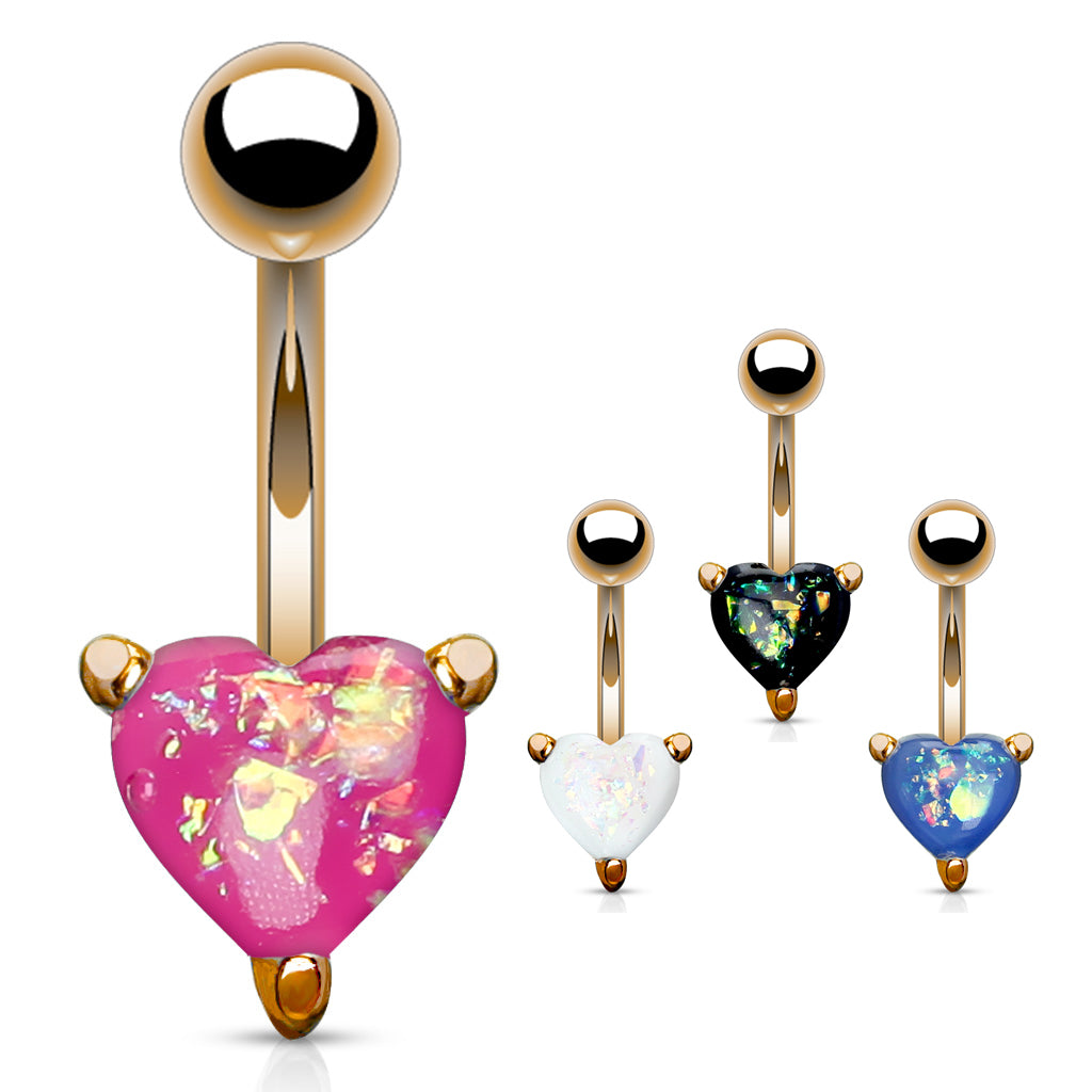 Solitaire Romeo Opal Belly Rings in Rose Gold - Fixed (non-dangle) Belly Bar. Navel Rings Australia.