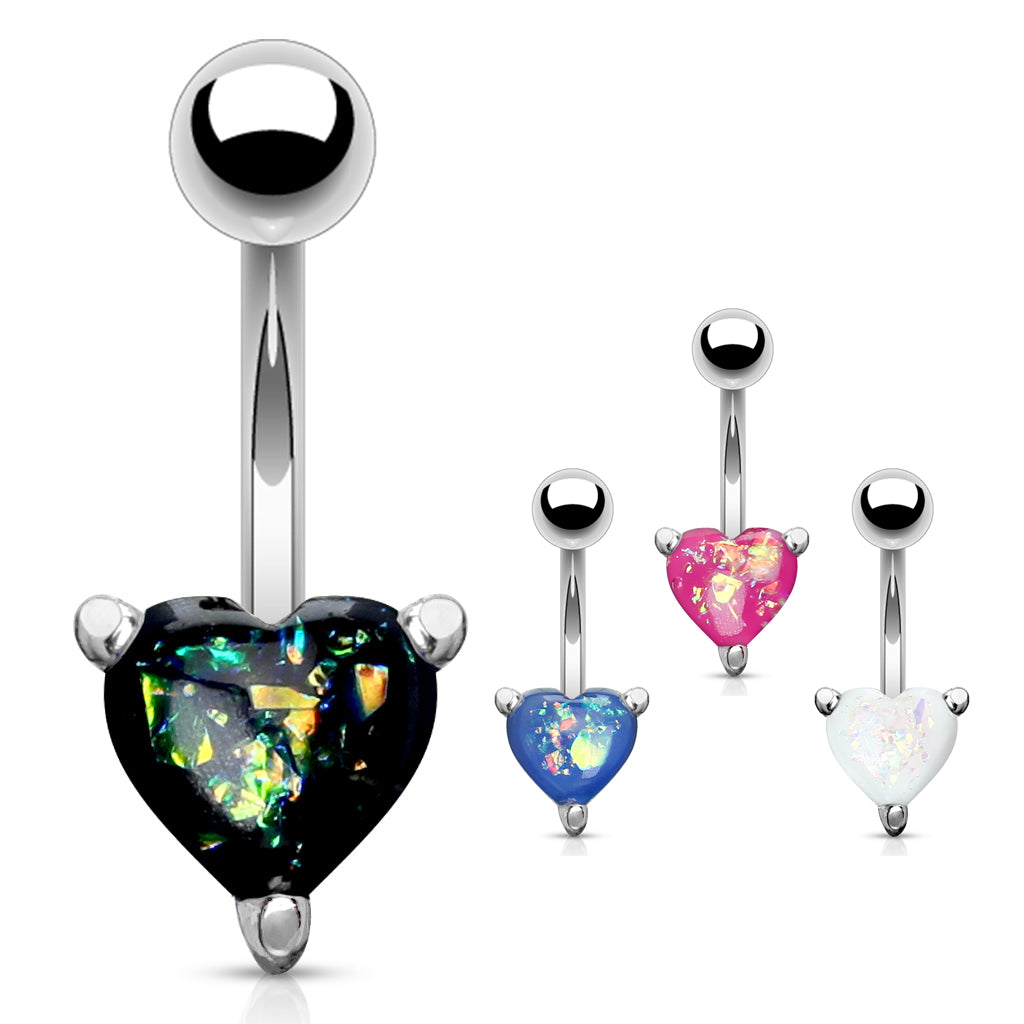Solitaire Romeo Opal Belly Rings - Fixed (non-dangle) Belly Bar. Navel Rings Australia.