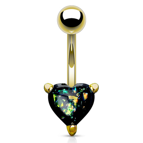 Black Solitaire Romeo Opal Belly Rings in Gold