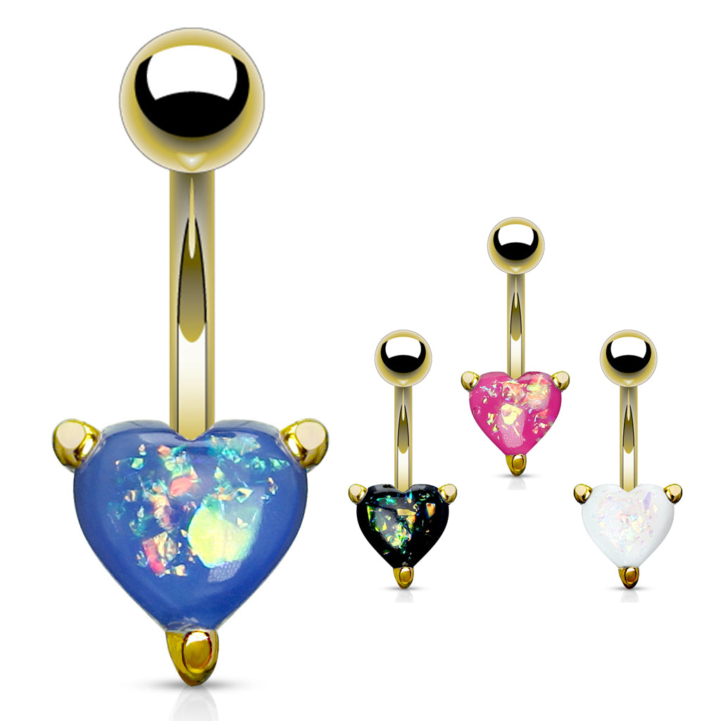 Solitaire Romeo Opal Belly Rings in Gold - Fixed (non-dangle) Belly Bar. Navel Rings Australia.