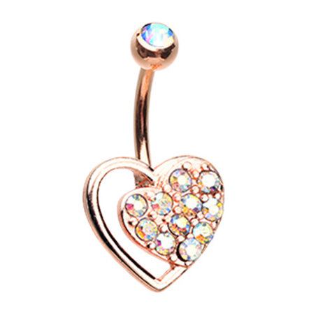 14K Rose Gold Split Rose Belly Piercing Ring