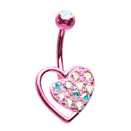 Pink Passion Belly Bar - Fixed (non-dangle) Belly Bar. Navel Rings Australia.