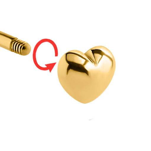 Replacement Ball. Belly Rings Australia. 6mm Gold Plated Heart Body Jewellery Ball