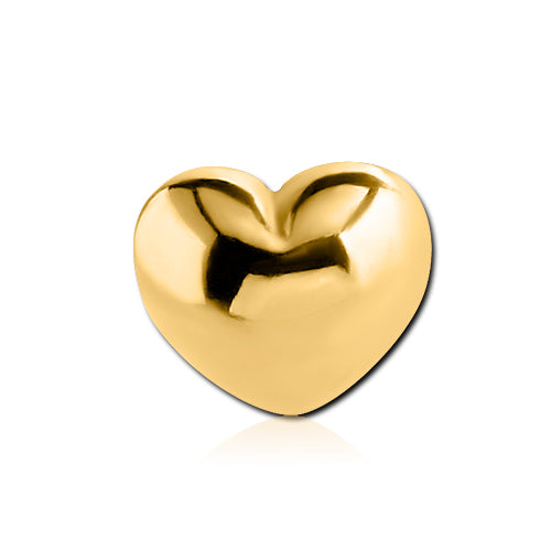 6mm Gold Plated Heart Body Jewellery Ball - Replacement Ball. Navel Rings Australia.