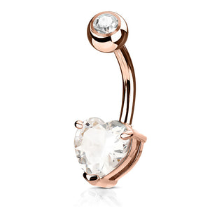 Rose Gold Plated Heart Solitaire Belly Bar - Fixed (non-dangle) Belly Bar. Navel Rings Australia.
