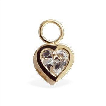TummyToys® Swinger Charm. Navel Rings Australia. TummyToys® 14k Gold Bezel CZ Heart Charm