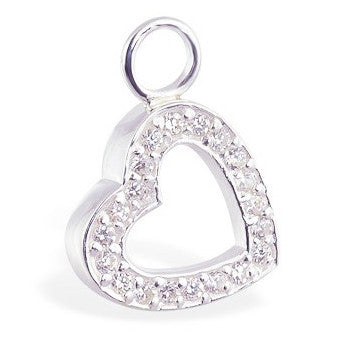 TummyToys® CZ Open Heart Charm - TummyToys® Swinger Charm. Navel Rings Australia.