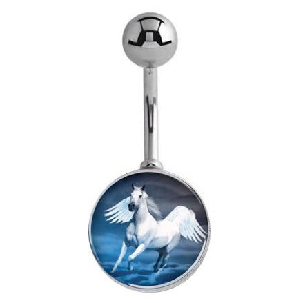 Fantasy Pegasus Belly Rings - Basic Curved Barbell. Navel Rings Australia.
