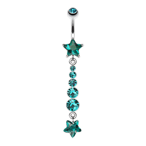 Emerald Midnight Stars Belly Dangle