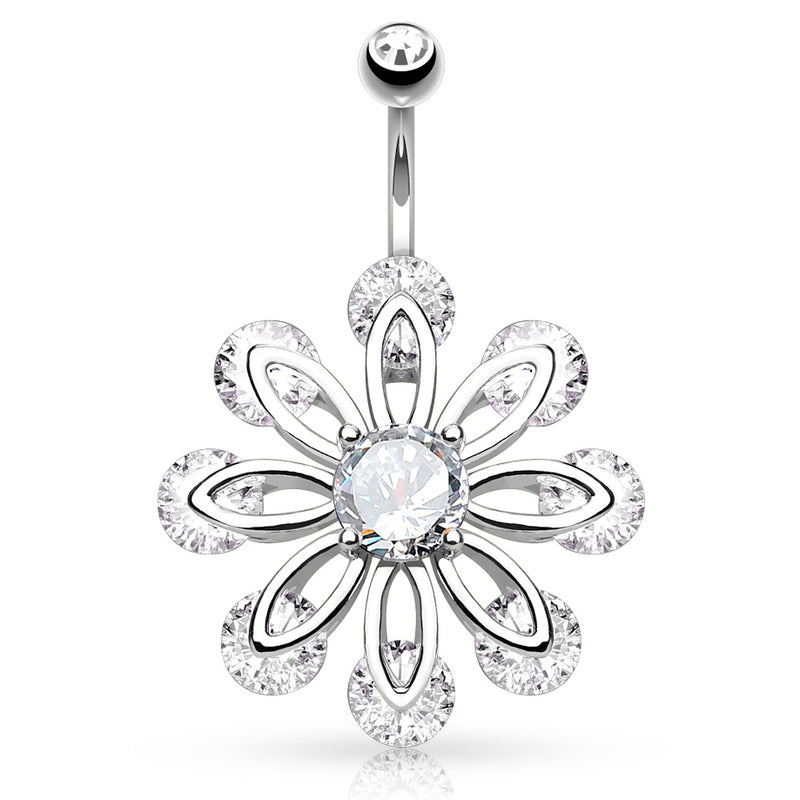 Bizee Floweret Belly Button Jewellery - Fixed (non-dangle) Belly Bar. Navel Rings Australia.
