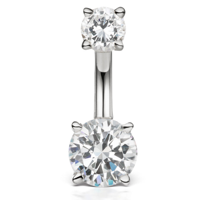 14k real diamond prong solitaire belly bar by maria tash. Black Bedroom Furniture Sets. Home Design Ideas