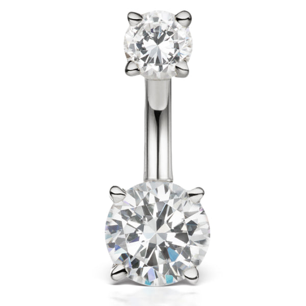 Mega 14K White Gold Authentic Diamond Prong Solitaire Belly Ring by Maria Tash - Basic Curved Barbell. Navel Rings Australia.