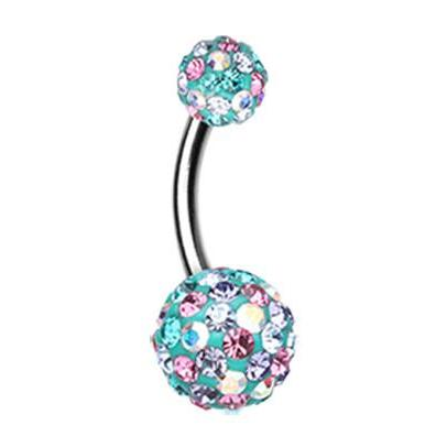 Basic Curved Barbell. Cute Belly Rings. Cobalt Motley Sprinkle Belly Piercing Bar
