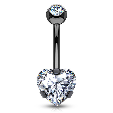 Ice Heart Solitaire in Metallic Titanium - Fixed (non-dangle) Belly Bar. Navel Rings Australia.