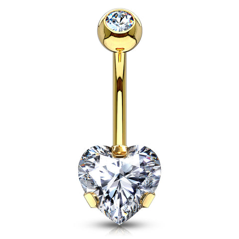 Fixed (non-dangle) Belly Bar. Navel Rings Australia. Ice Heart Solitaire Belly Bar in Gold