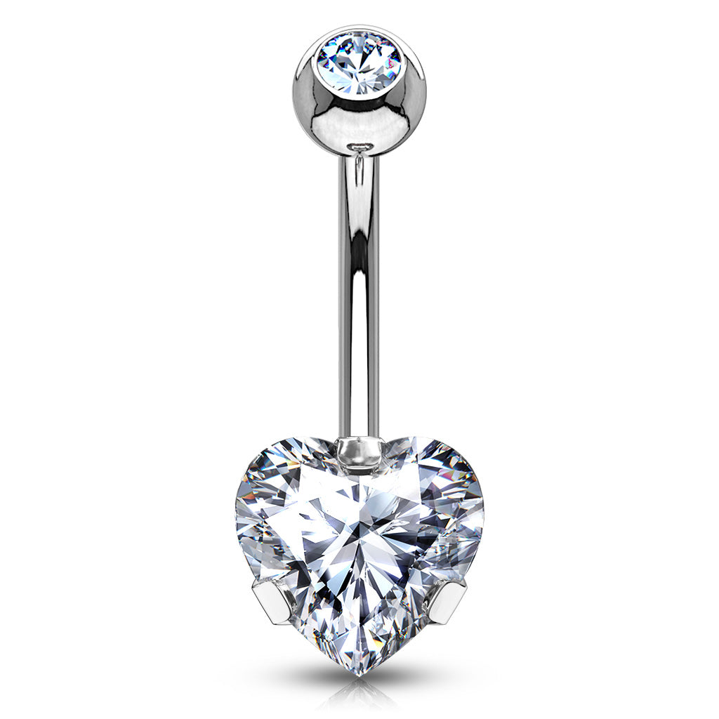 Ice Heart Solitaire Belly Bar - Fixed (non-dangle) Belly Bar. Navel Rings Australia.